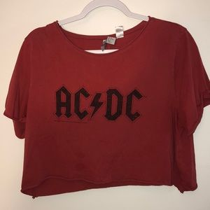 Vintage-like AC/DC Crop Top